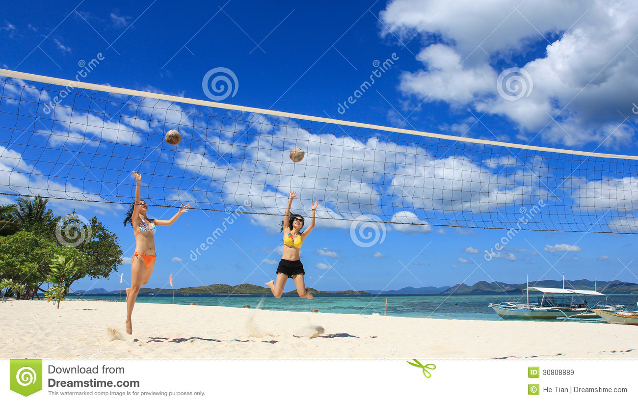 Active Young Women Volleyball Player Sport Stock Vector: Two Girls Playing Volleyball On White Beach Stock Image