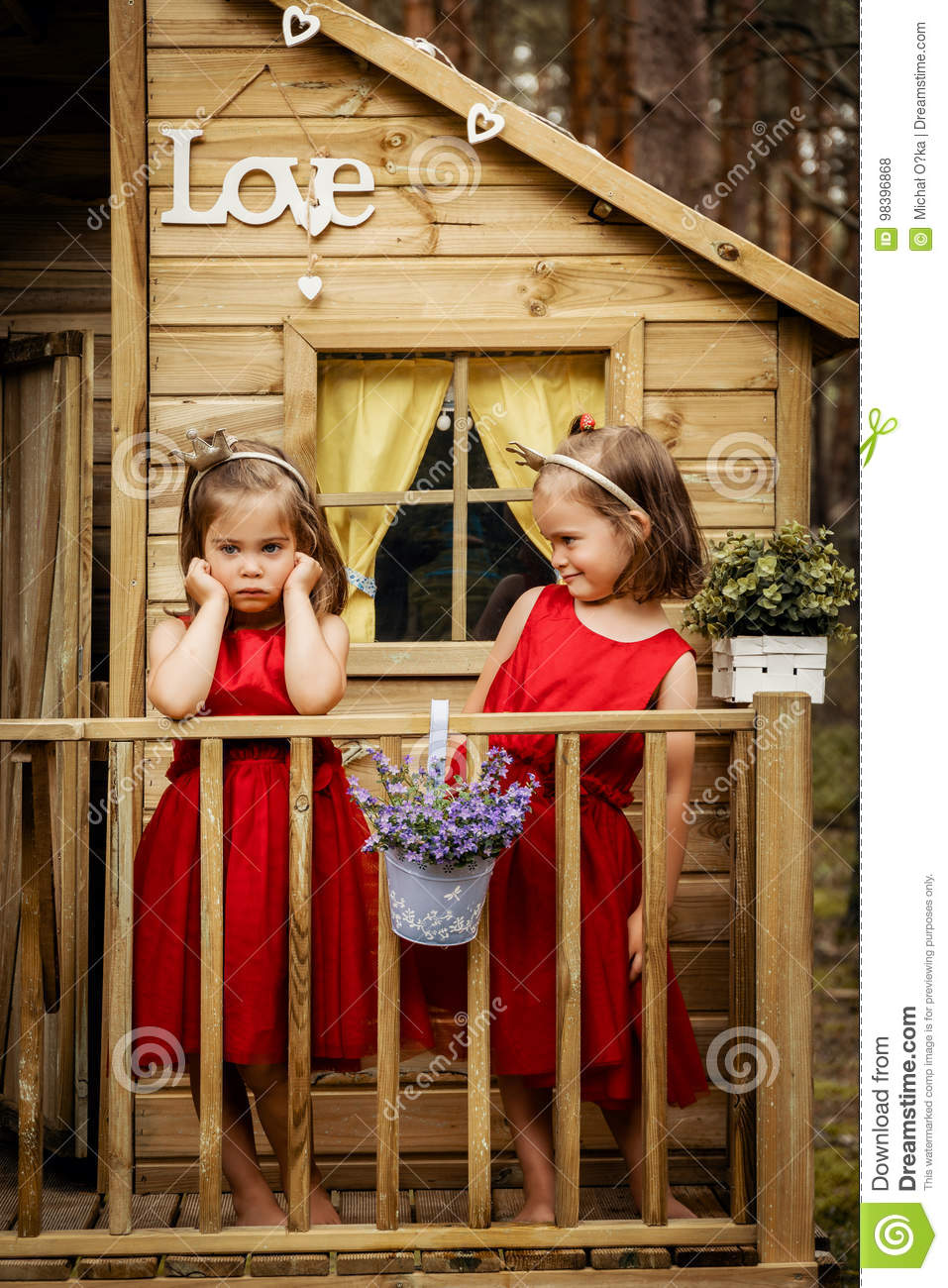 Picture of: Two Girls Are Posing In A Tree House Stock Photo Image Of Cute Fresh 98396868