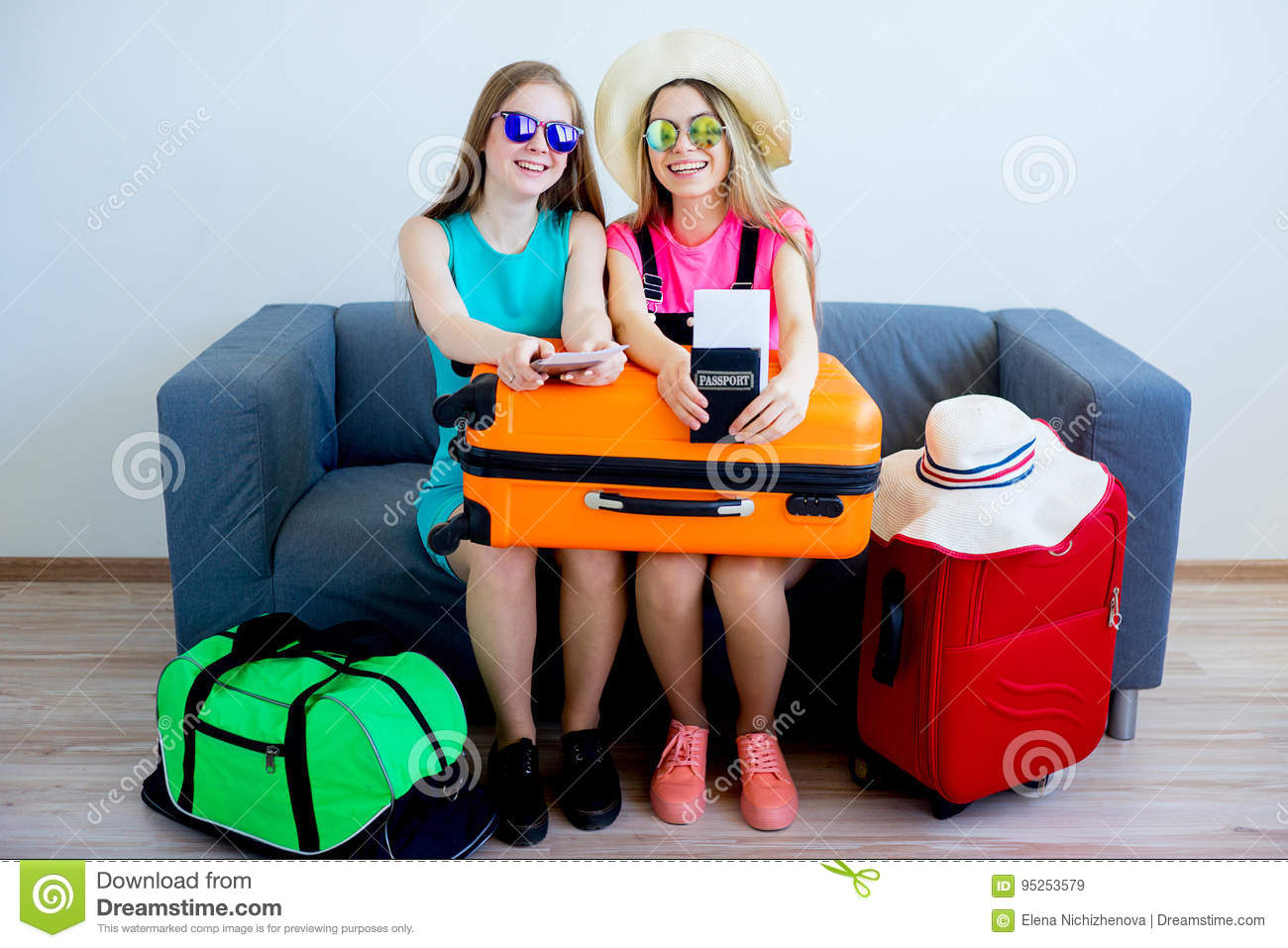 two girls preparing for vacation stock image image of packing