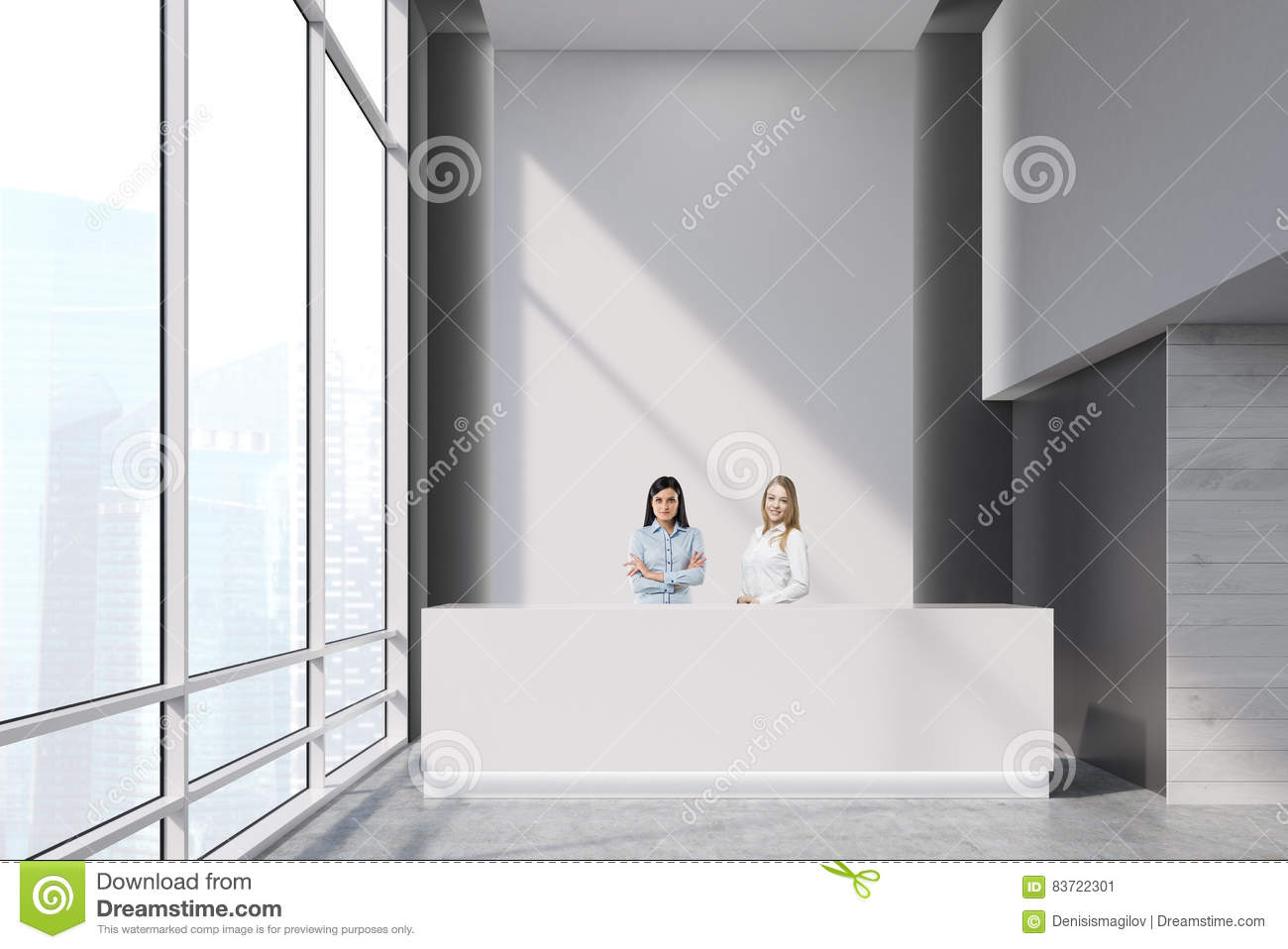 Two Girls  At A Reception Desk Stock Illustration