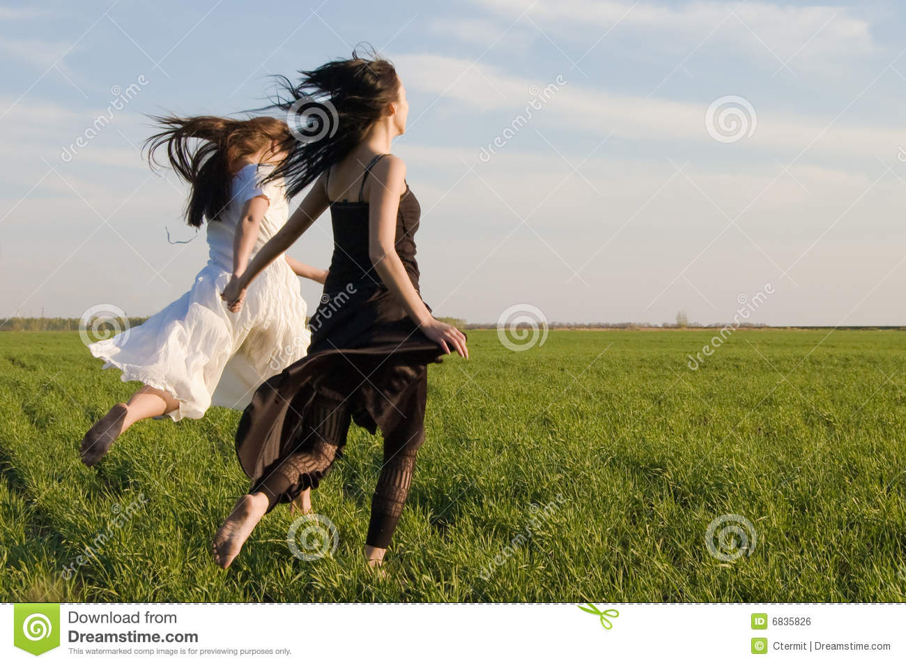 Two Girls Running On The Field 3 Royalty Free Stock Image ...