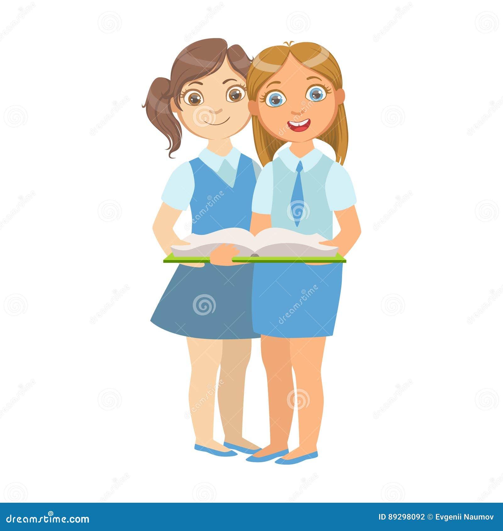 Book Cover School Uniform : Cartoon kids reading book vector