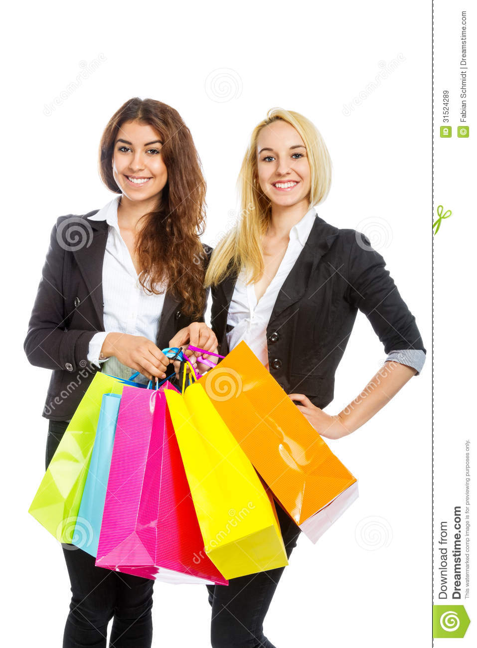 Two Girls With Shopping Bags Royalty Free Stock Images - Image ...