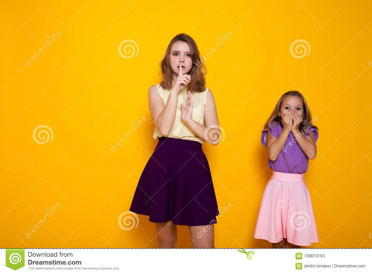Two Girls Shut Mouth Finger Silence 1 N