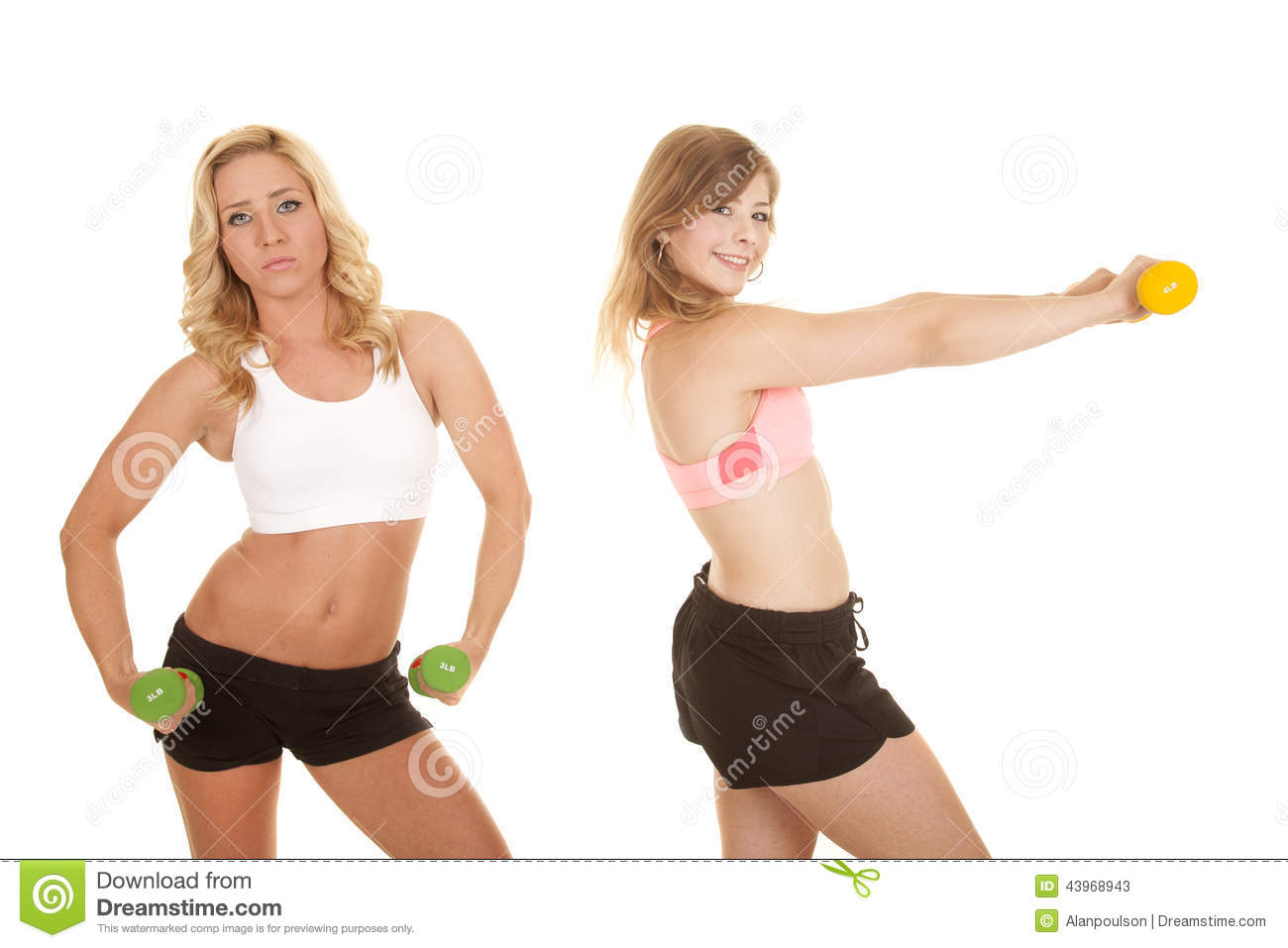 Two Girls Sports Bras Weights Serious Stock Photo - Image: 43968943