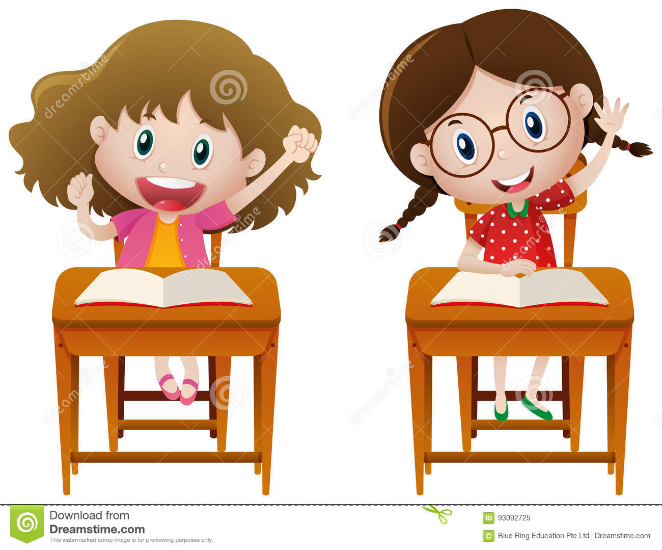 two girls studying in class stock vector illustration of clipart rh dreamstime com Studying Clip Art Studying in Bed