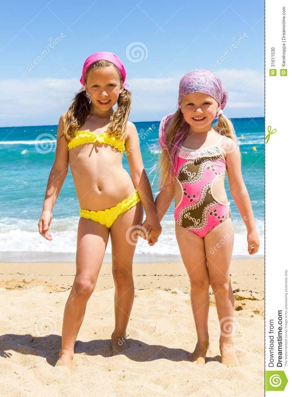 edaa4ae234 Two Girls In Swimwear On Beach. Stock Photo - Image of expression ...