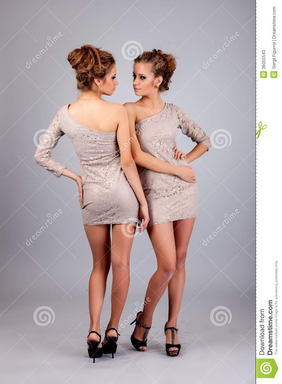 Two Girls Twins Isolated On The Grey Background Stock