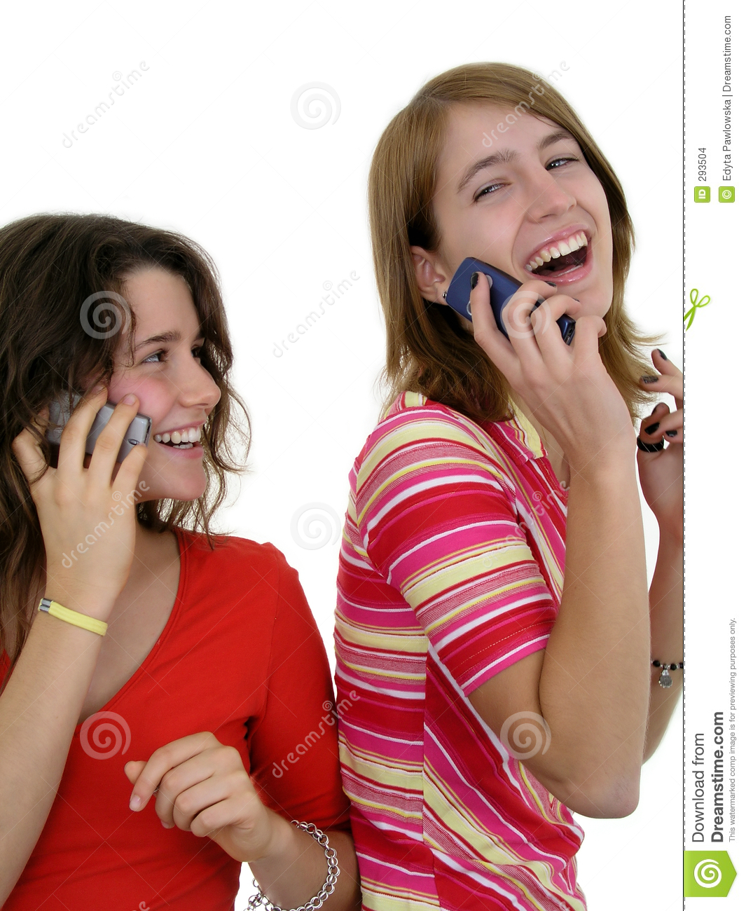 Two Girls Using Mobile Phones Stock Images - Image: 293504