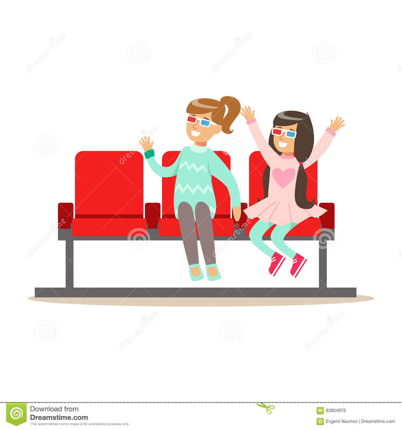Two Girls Waiting Taking Seats In Cinema Room Part Of Happy People In Movie Theatre Series Stock Vector Illustration Of Cartoon Indoors 83804978