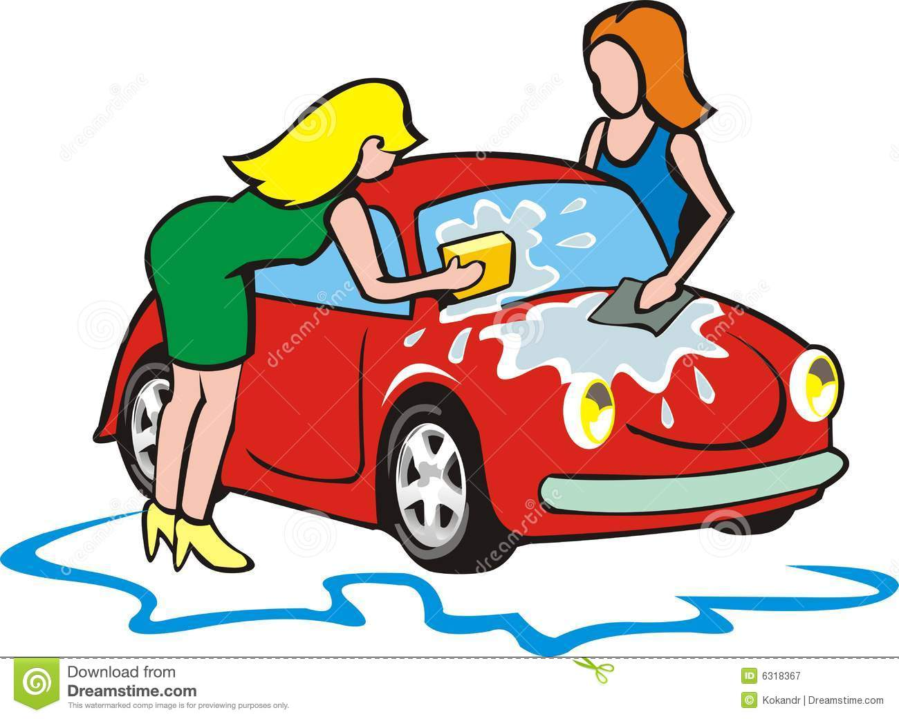Car Wash Clip Art: Two Girls Wash Small Car Stock Vector. Illustration Of
