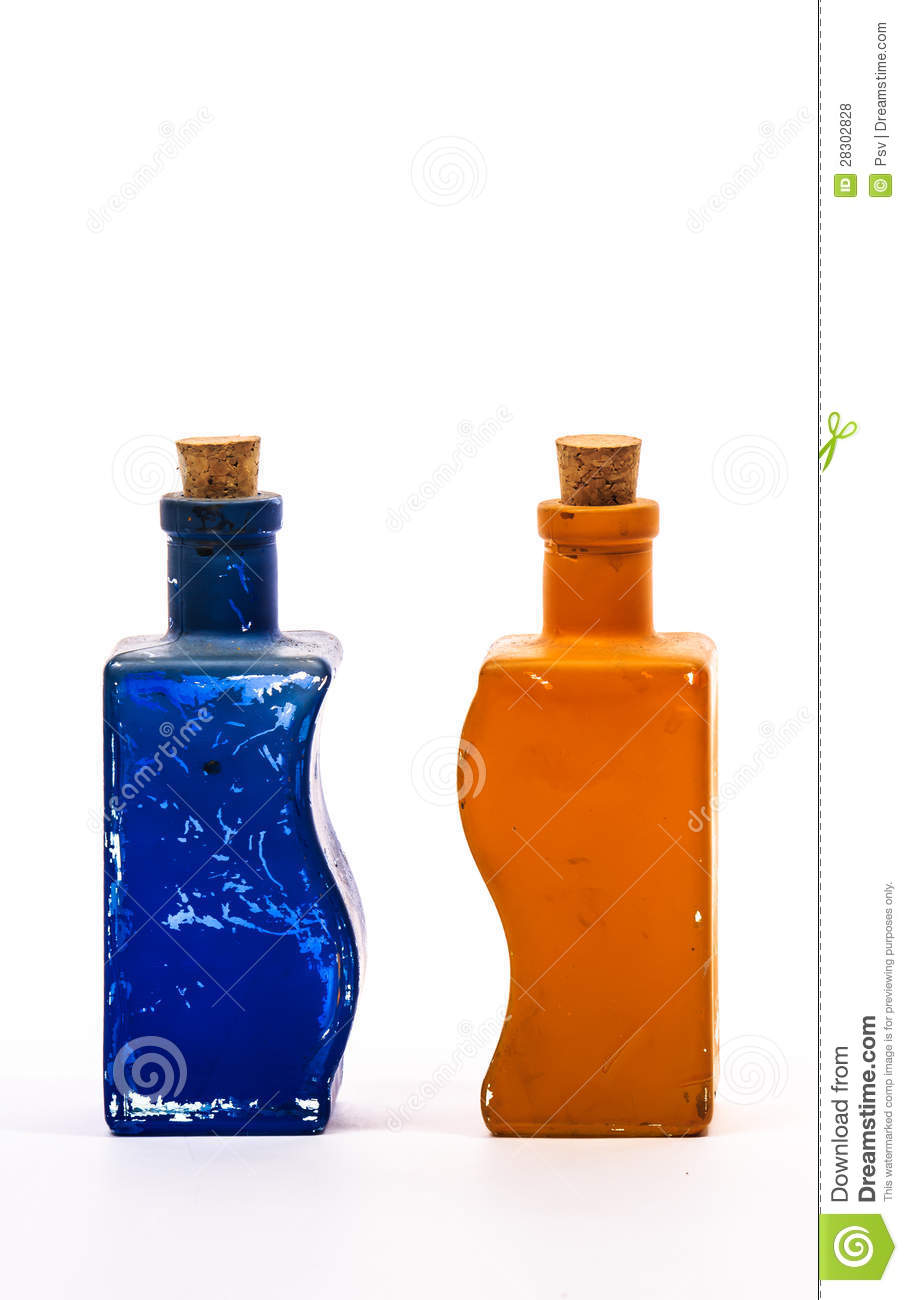 Two Glass Decorative Bottles Royalty Free Stock Photos Image 28302828