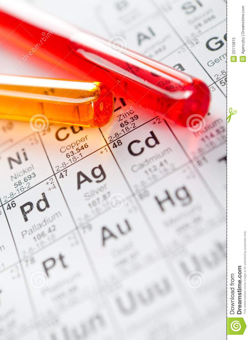 Two glass test tubes on the periodic table stock image image two glass test tubes on the periodic table gamestrikefo Image collections