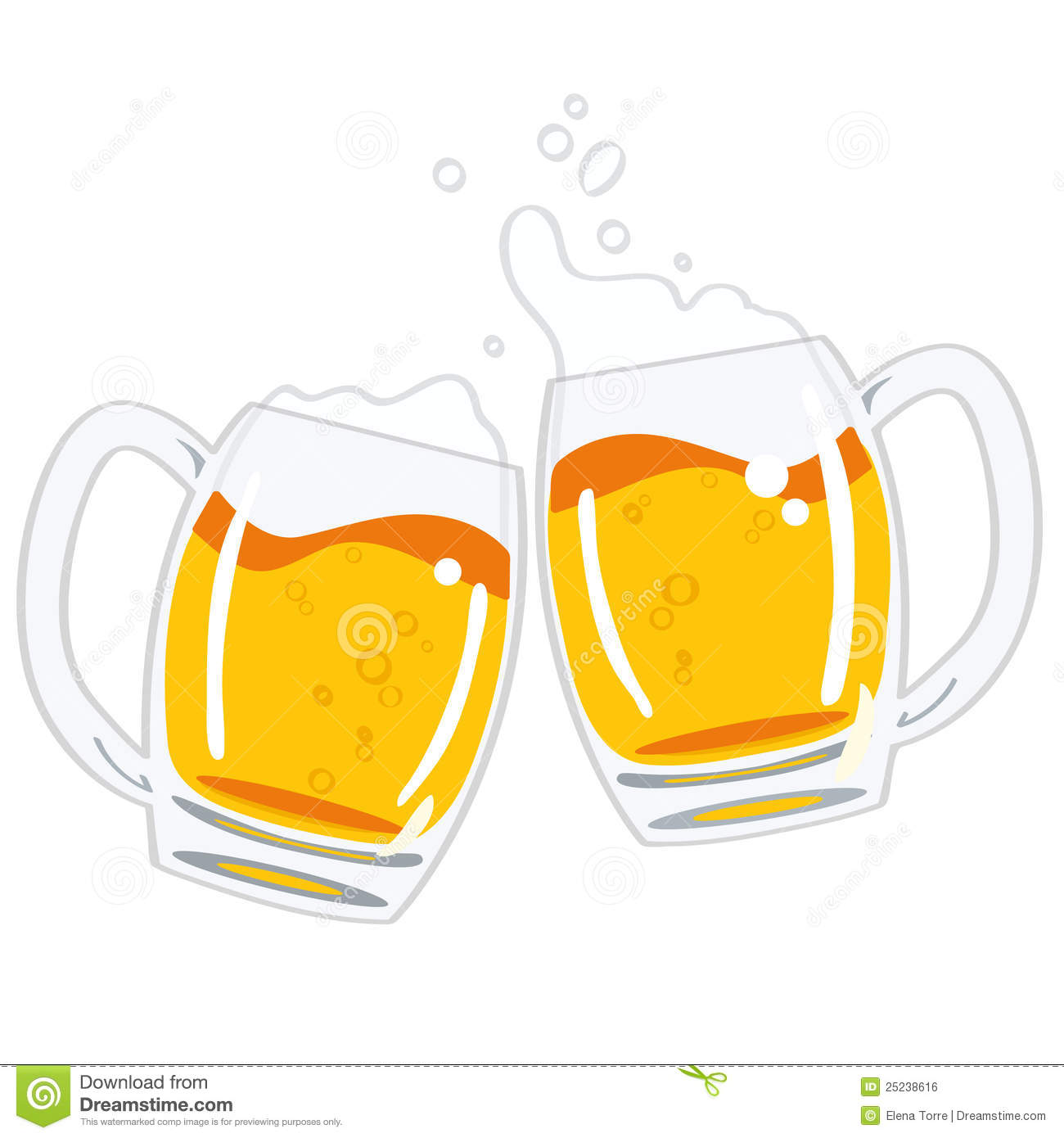 Two glasses of beer vector stock vector. Illustration of ...