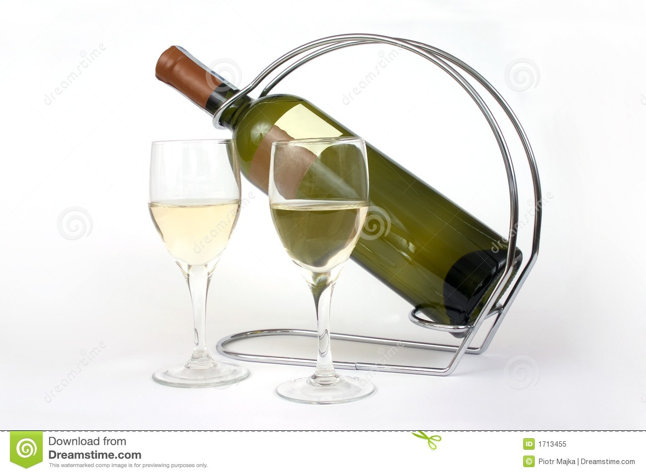 two glasses and a bottle of wine stock image image 1713455. Black Bedroom Furniture Sets. Home Design Ideas