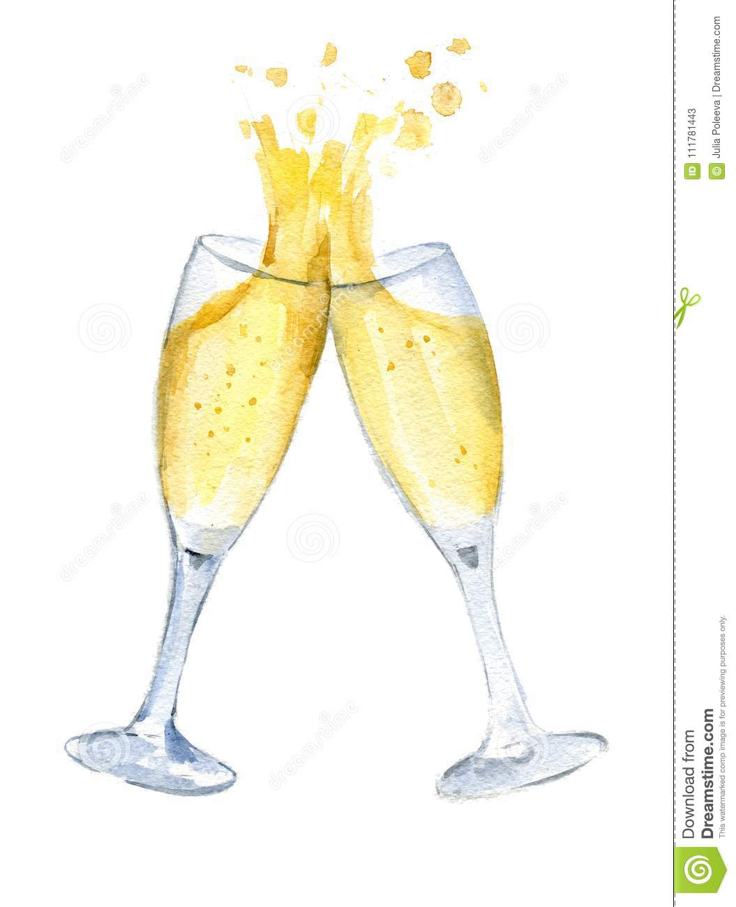 Two glasses with champagne clink glasses with a splash. New year. Watercolor. Isolated.