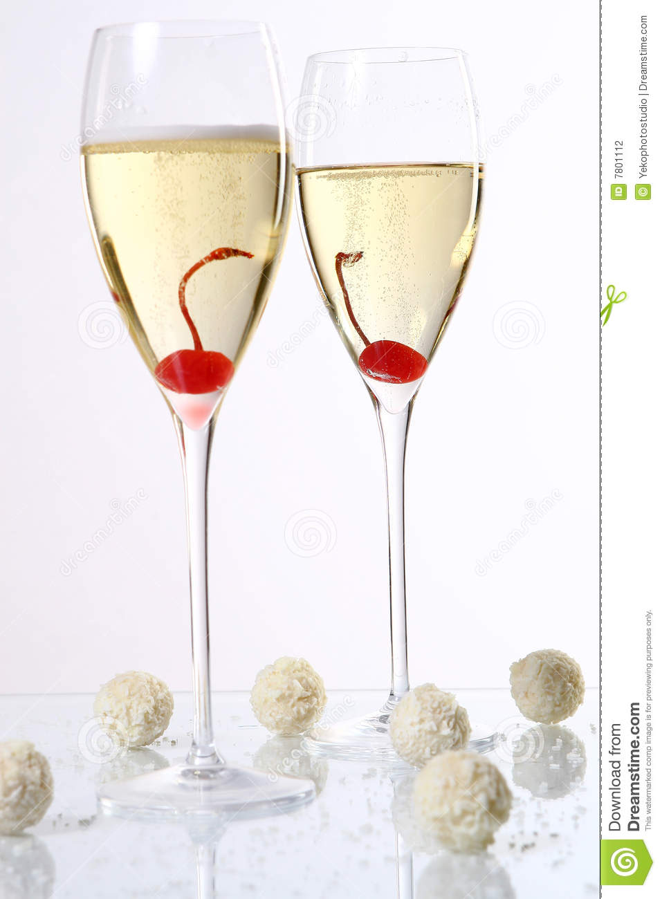 Two Glasses With Champagne And Desert Cherry Stock