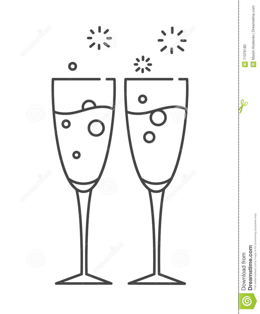 two glasses of chagne icon in the line style stock