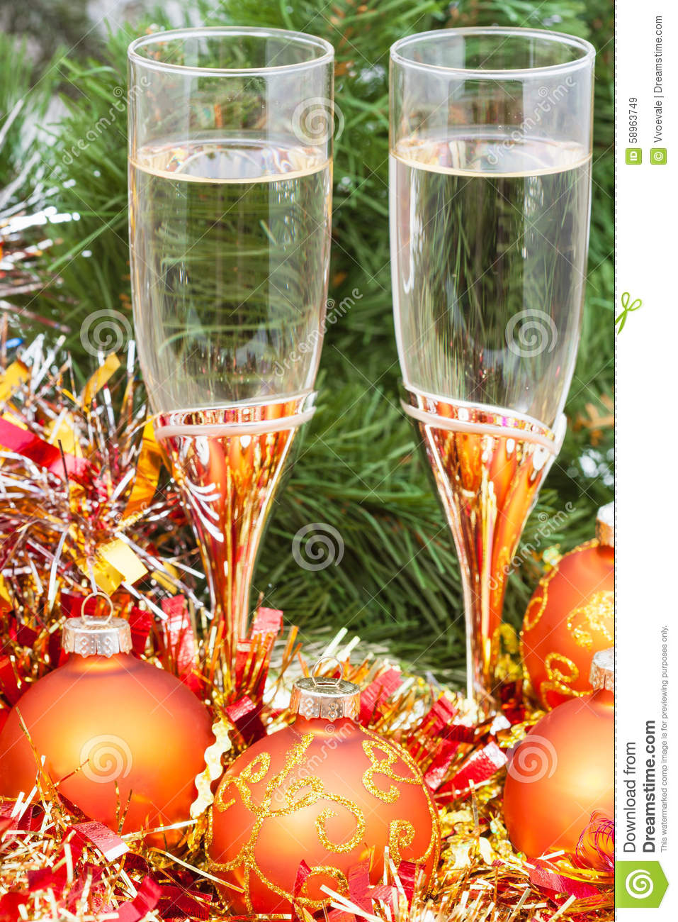 Two Glasses With Gold Xmas Decorations And Tree 7 Stock Image