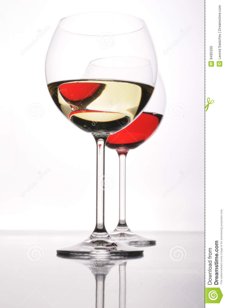 Two Glasses Of Red And White Wine Stock Photo - Image: 8495330