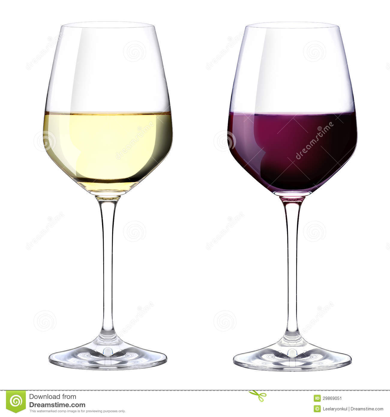Two Glasses Of Red And White Wine Stock Image - Image ...