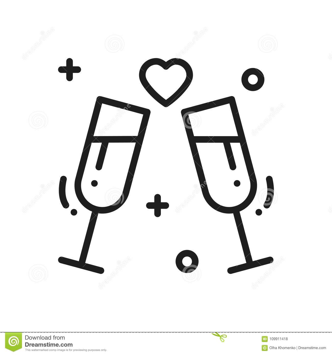 Two Glasses Romantic Toast Line Icon Wedding Sign And Symbol