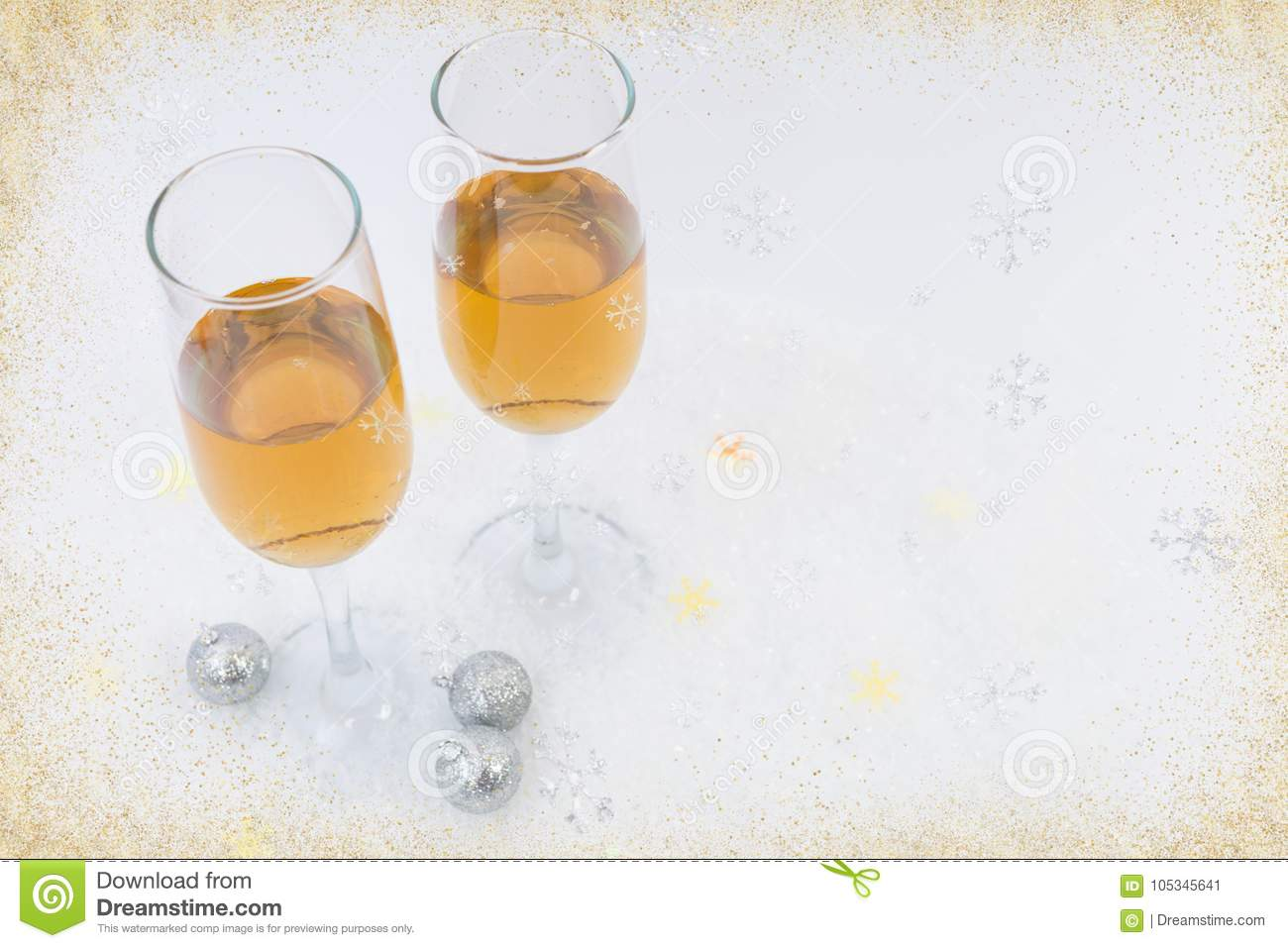 Two glasses of sparkling wine as happy new year concept