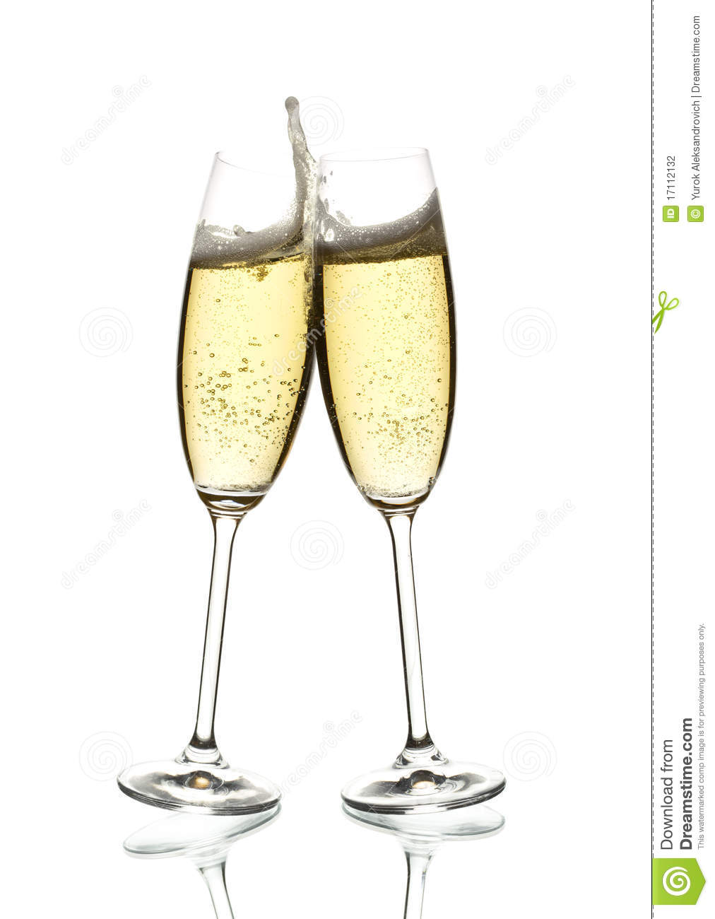 Two Glasses Of Sparkling Wine Clinking Stock Photography - Image ...