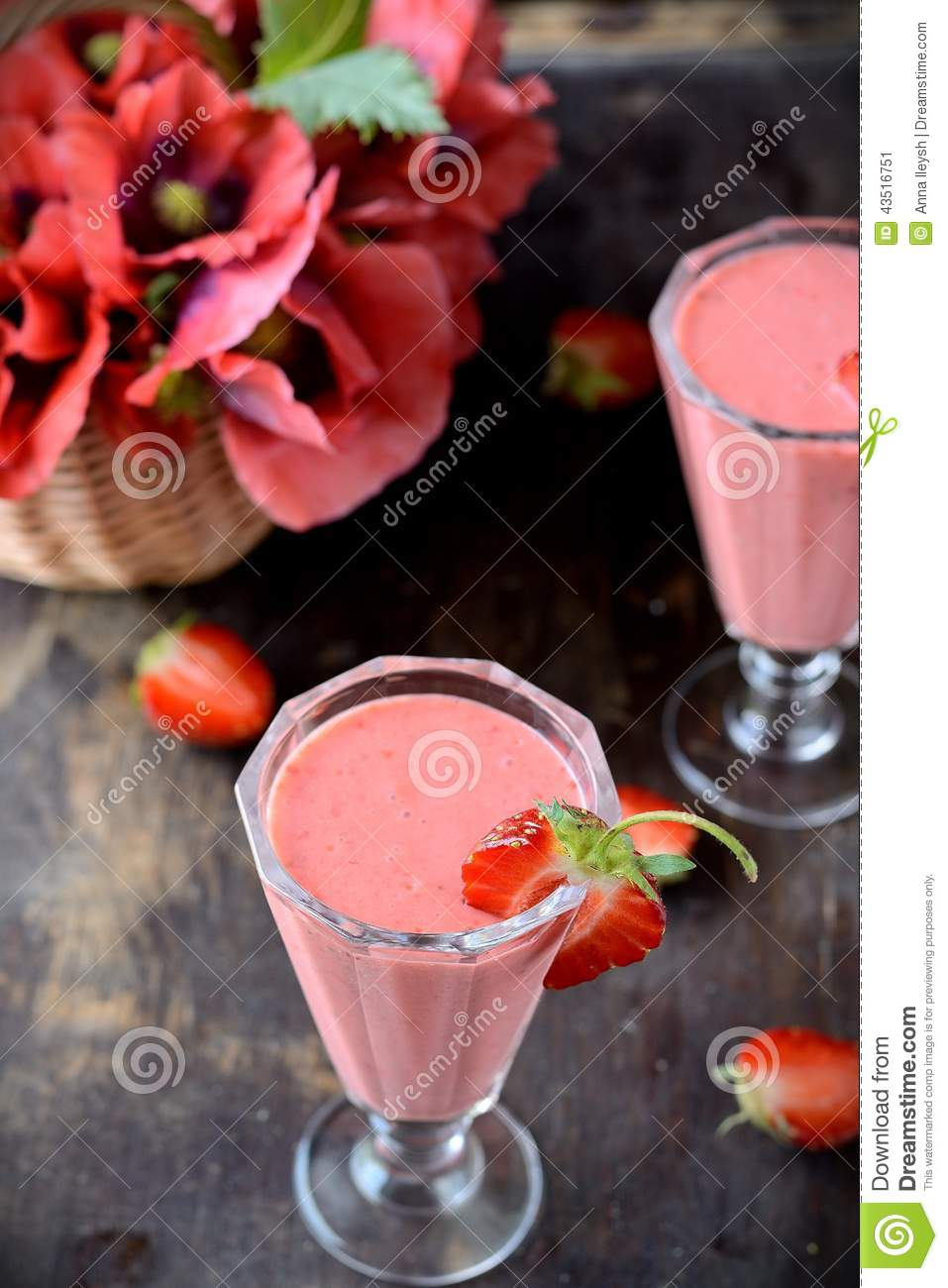 Two glasses of strawberry cocktail