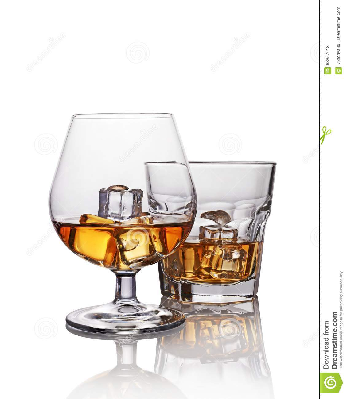 Two Glasses Of Strong Alcoholic Drink Scotch Whiskey With