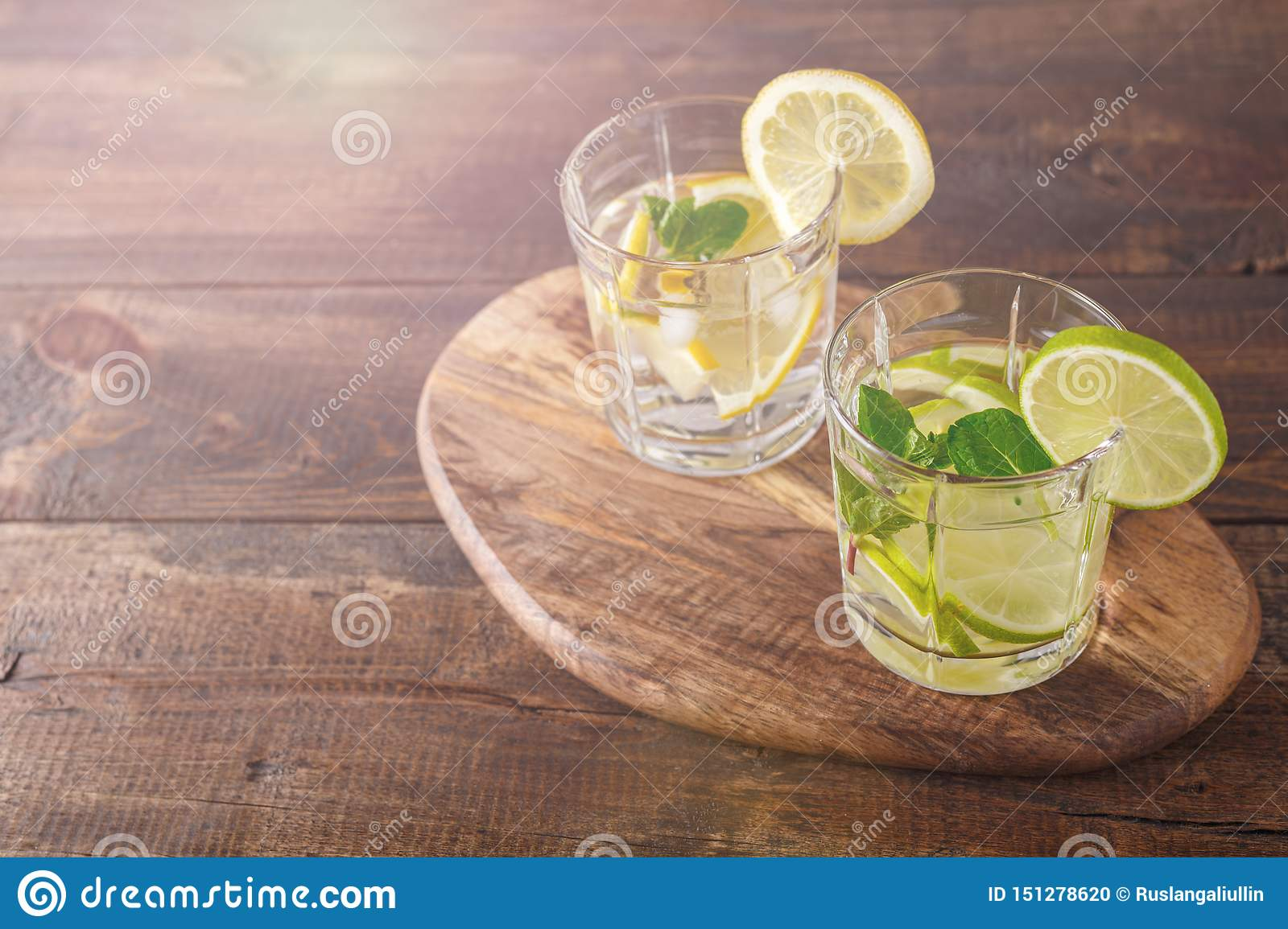 Two glasses with a summer cocktail of lemon, lime, mint and ice on a wooden Board with a copy of the space