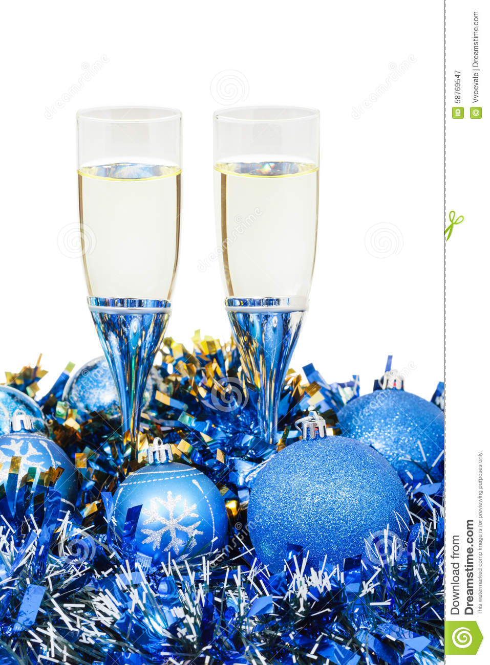 Two Glasses Of Wine At Blue Christmas Decorations Stock ...