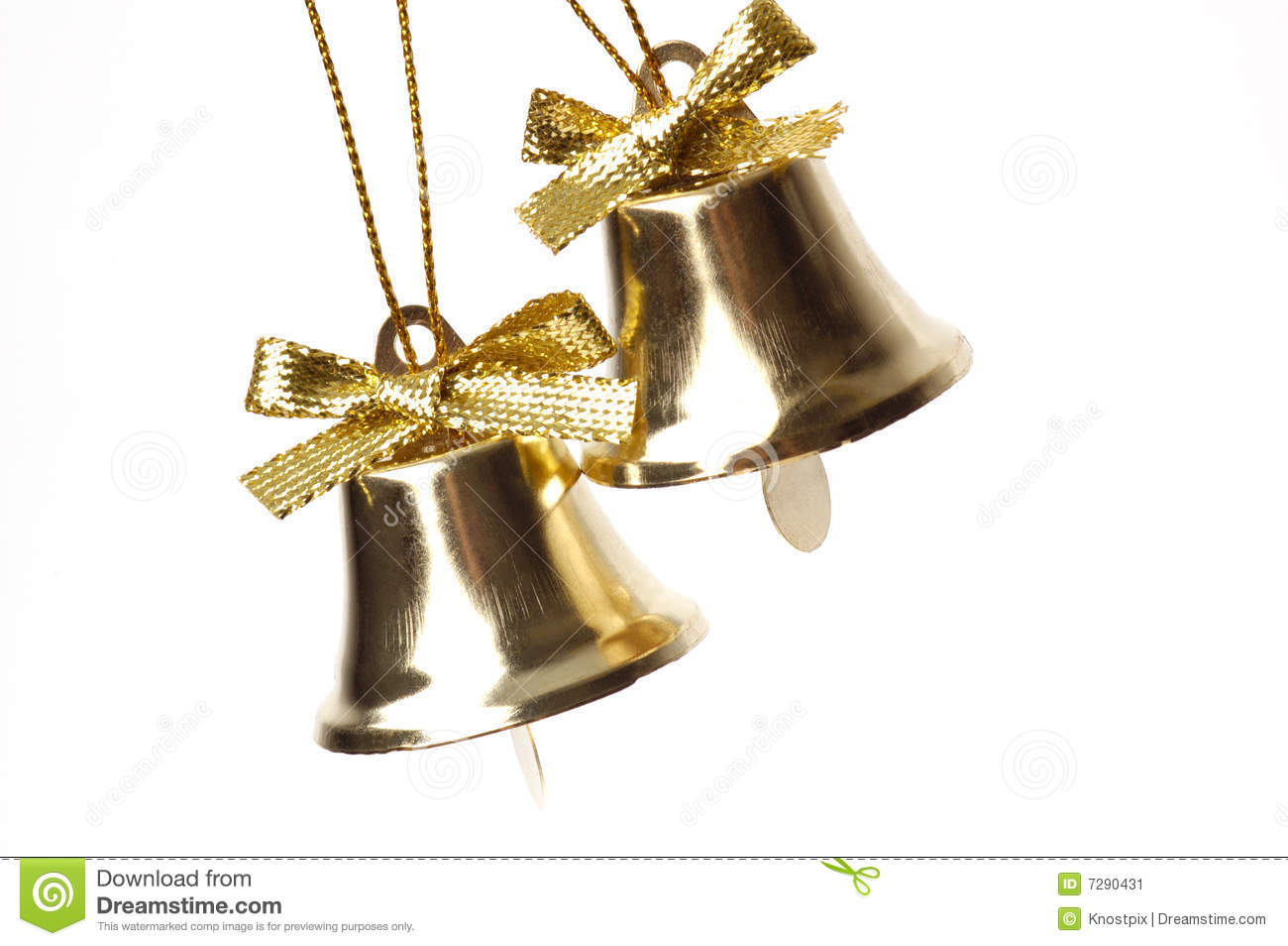 Two gold bells wedding anniversary holiday stock image