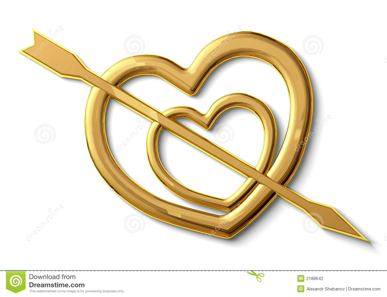 Two Gold Hearts Stock Illustration Illustration Of Figure