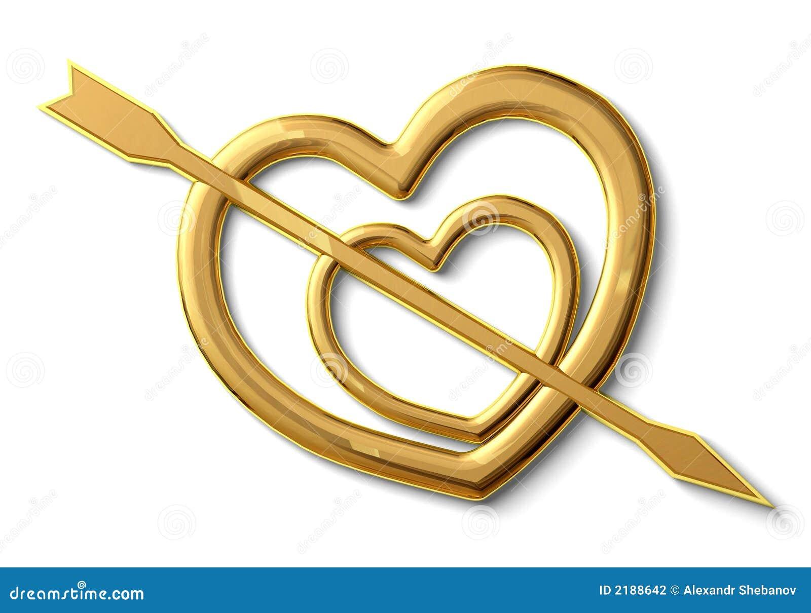 Two Gold Hearts Stock Illustration Illustration Of Figure