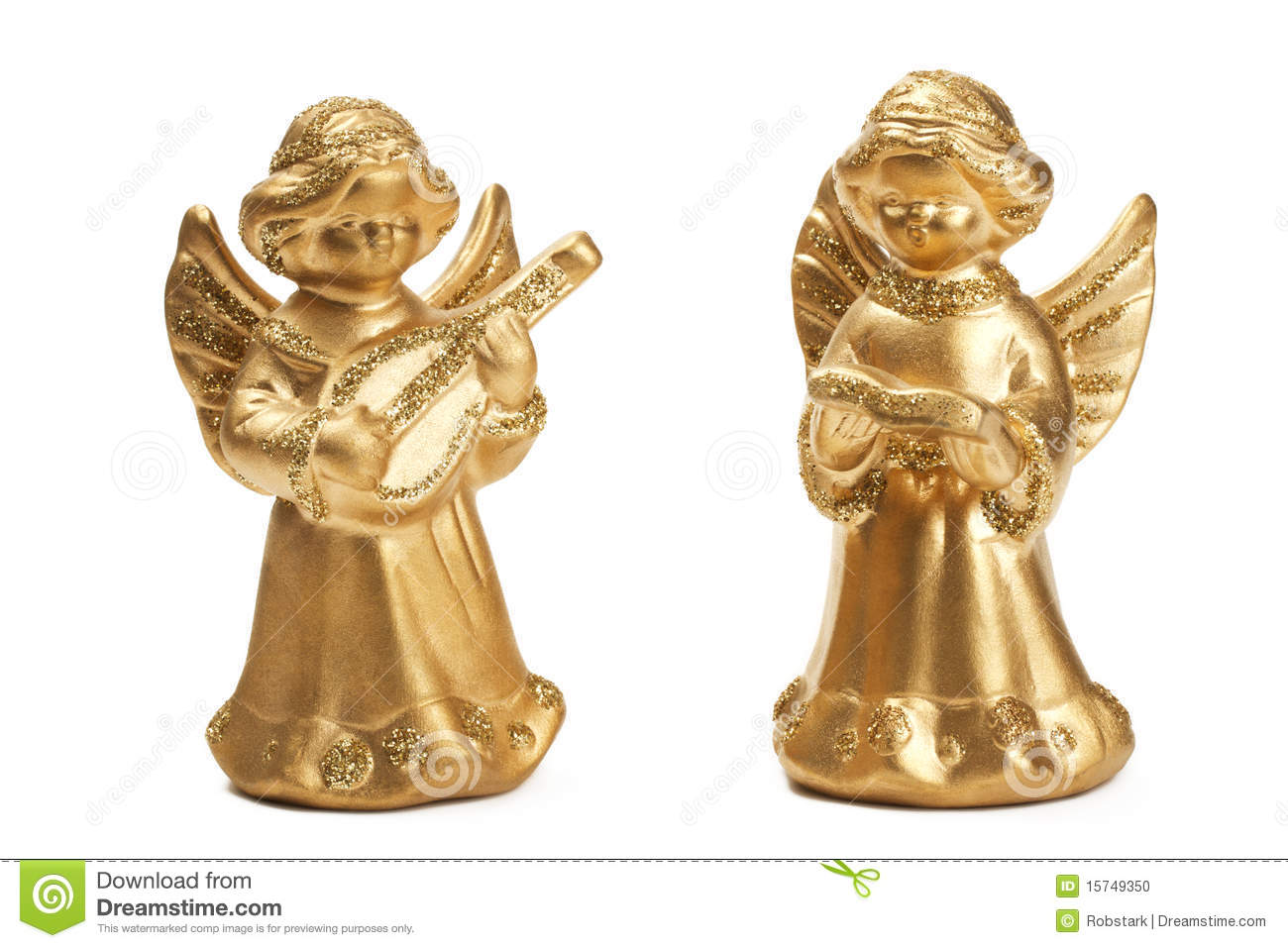 Two Golden Christmas Angel Figurines Stock Photo - Image: 15749350