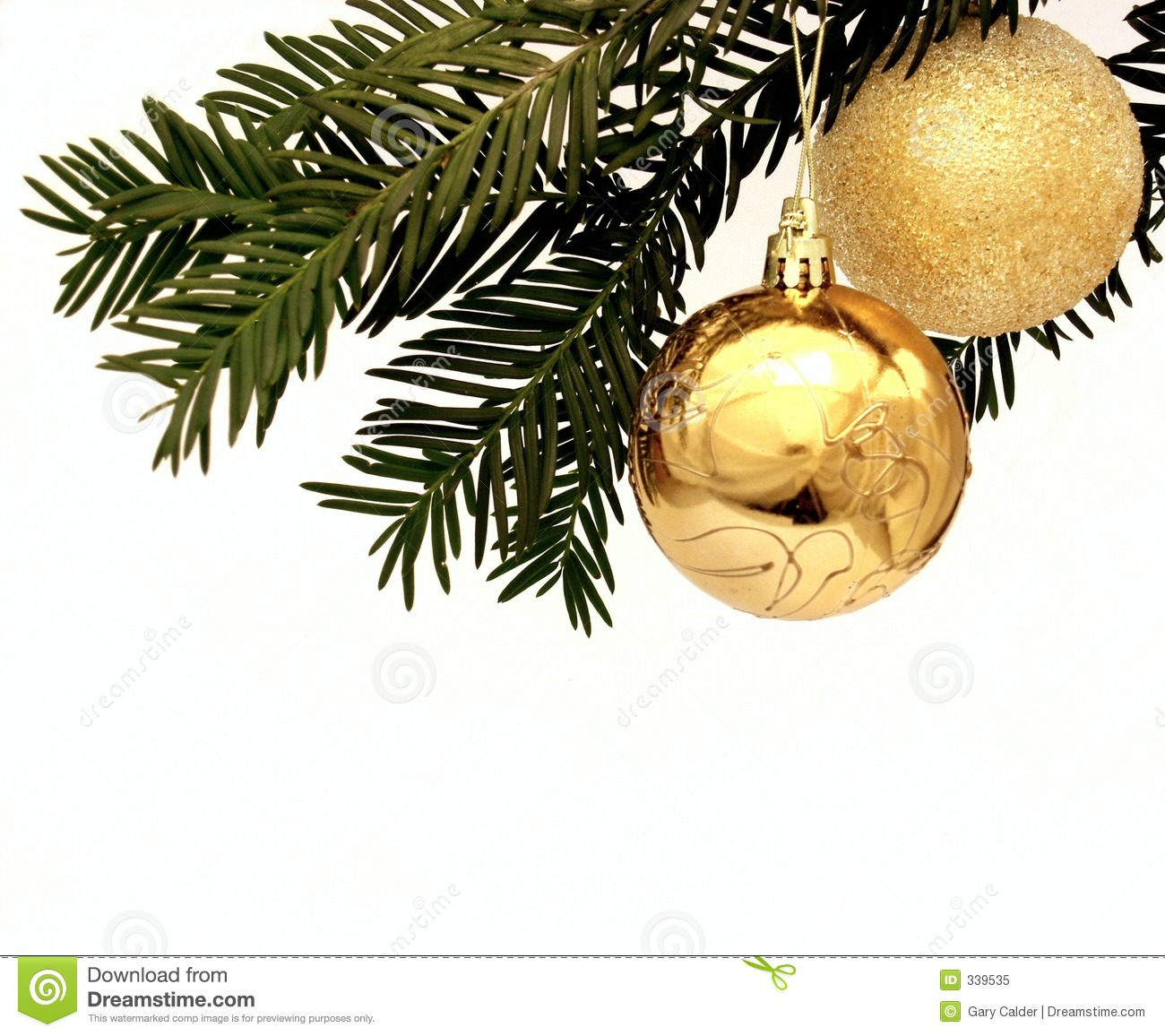 Two golden christmas decorations hanging from a tree for Hanging christmas decorations