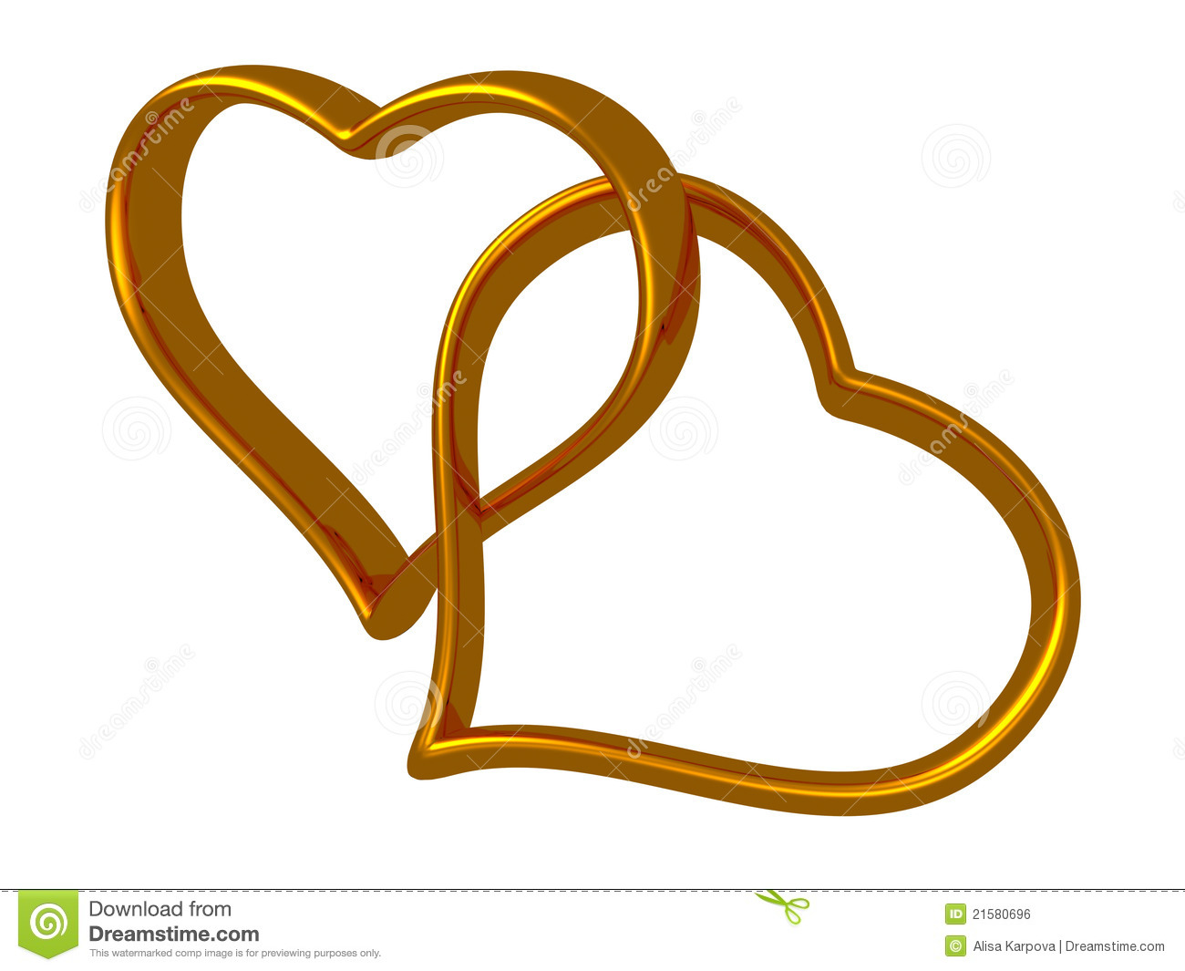 Two Golden Hearts Linked Together Royalty Free Stock Image ...