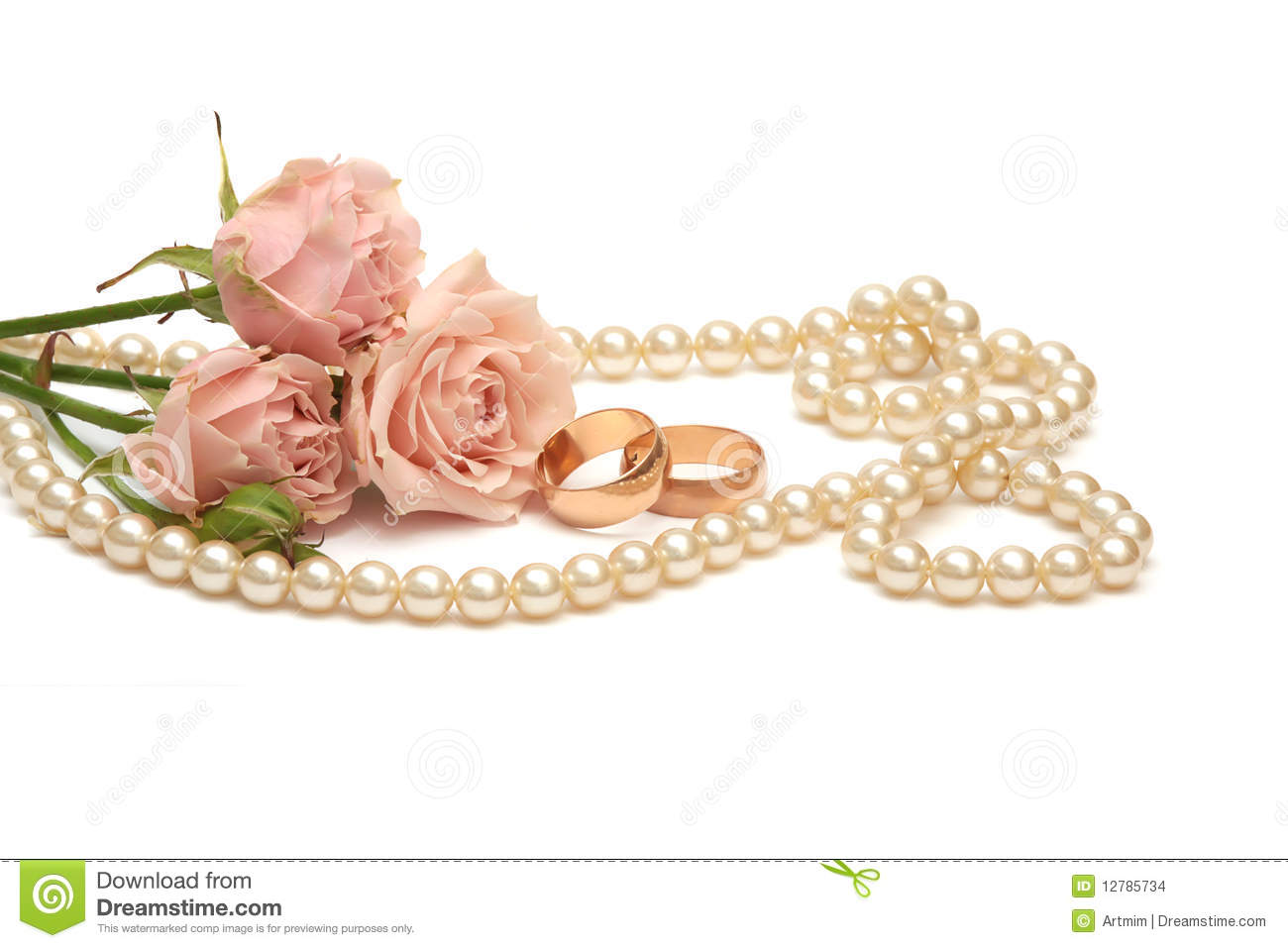 Two Golden Rings Pearls And Flowers Stock Photo Image