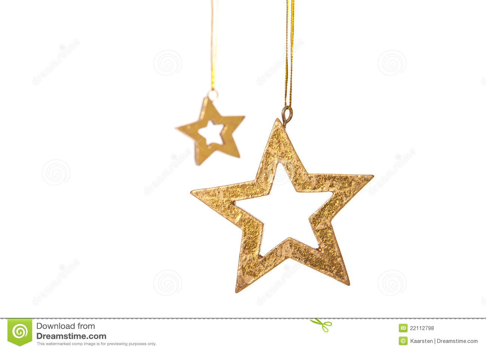 Two Golden Stars Christmas Decoration Stock Photo