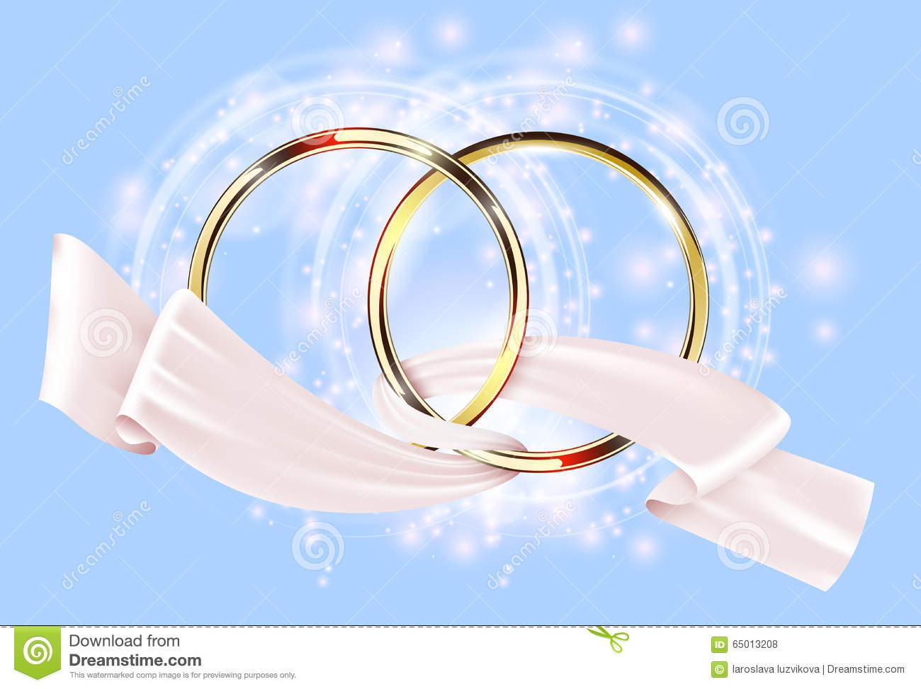 Two Golden Wedding Ring With White Ribbon Stock Vector