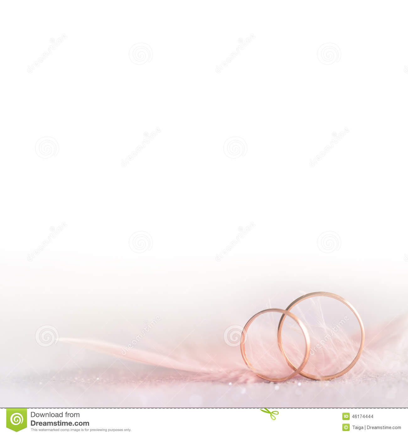 Two Golden Wedding Rings And Feather Soft White Stock