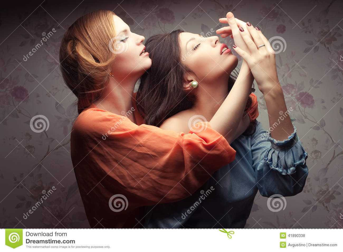 two gorgeous girlfriends making love stock photo image