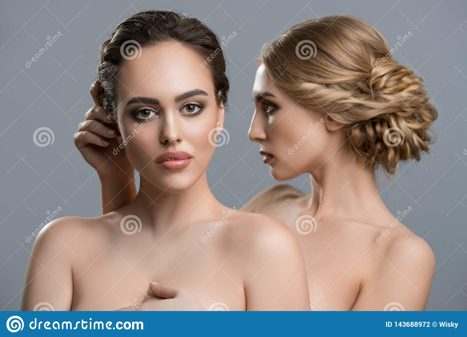 Two Gorgeous Women Topless Portrait Stock Photo Image Of Adult Beautiful 143688972