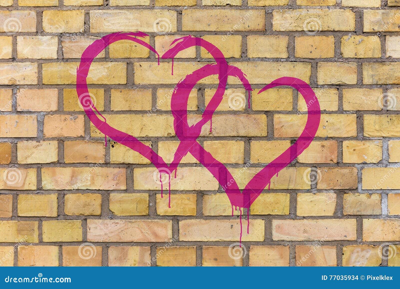 two graffiti hearts stock photo image of drop drawing 77035934