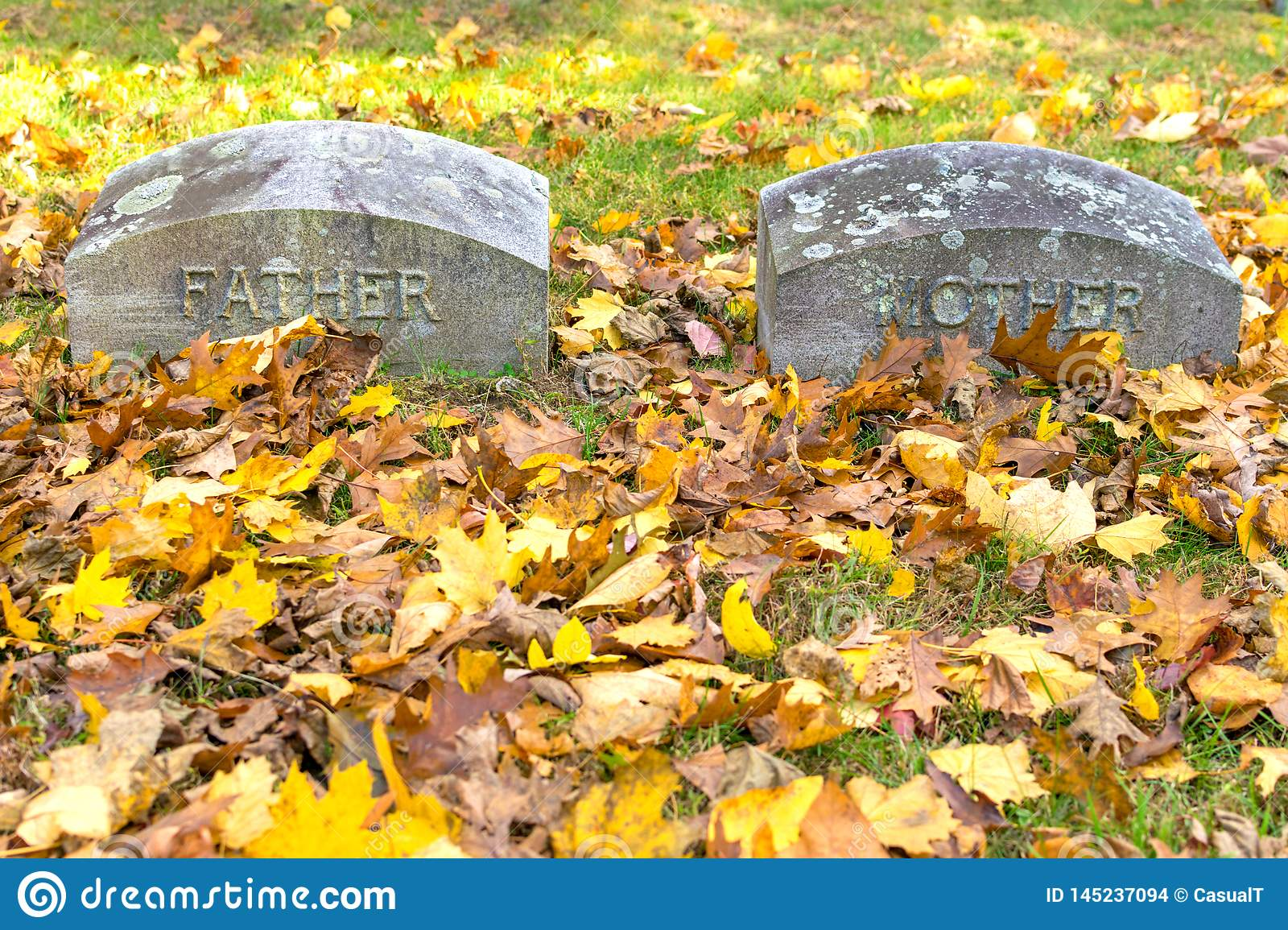 Two gravestones, inscribed with the words Father & Mother, amid green grass and fallen foliage on a sunny fall day in