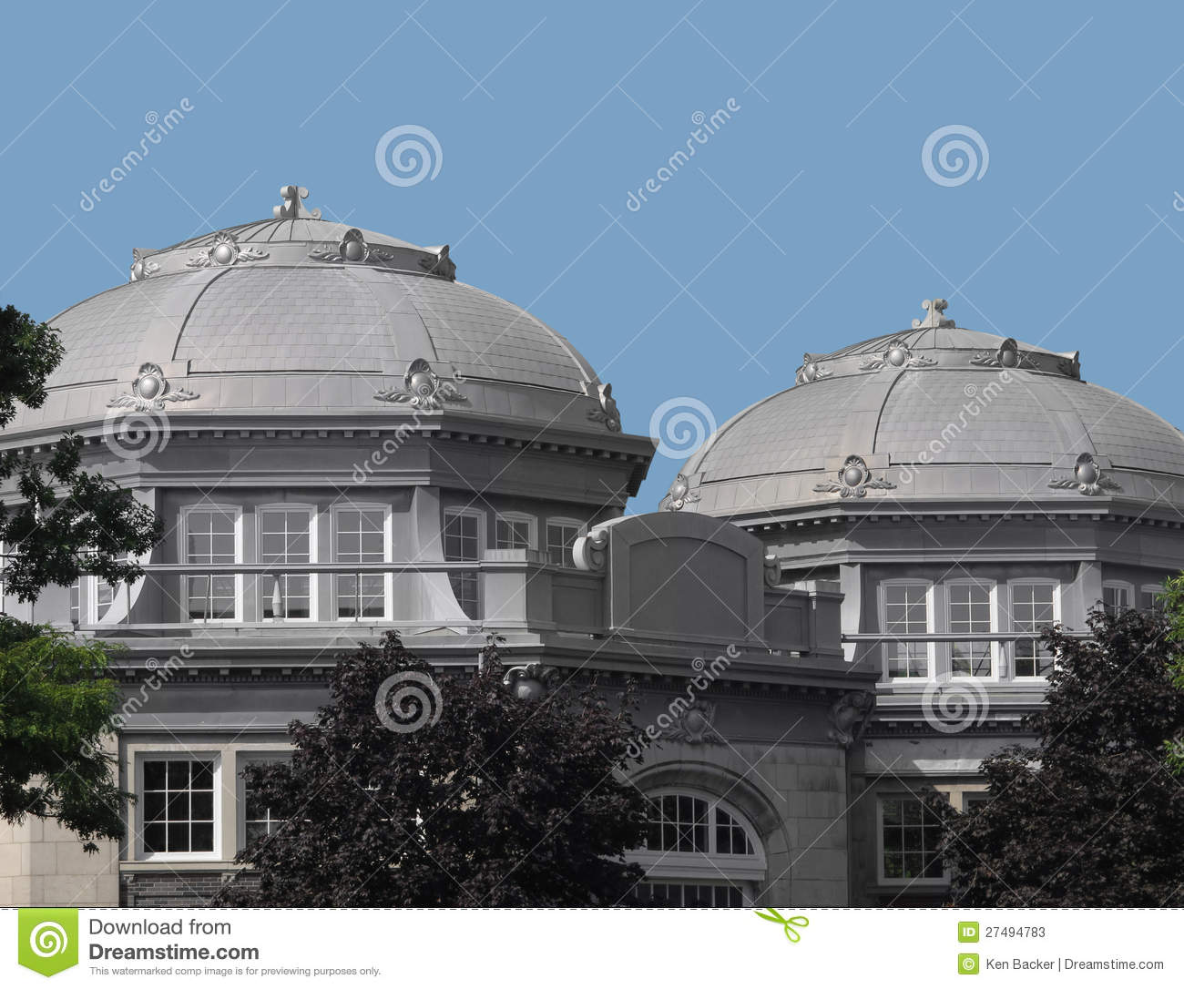 Construction Concrete Dome Home: Two Gray Concrete And Stone Domes. Stock Photos