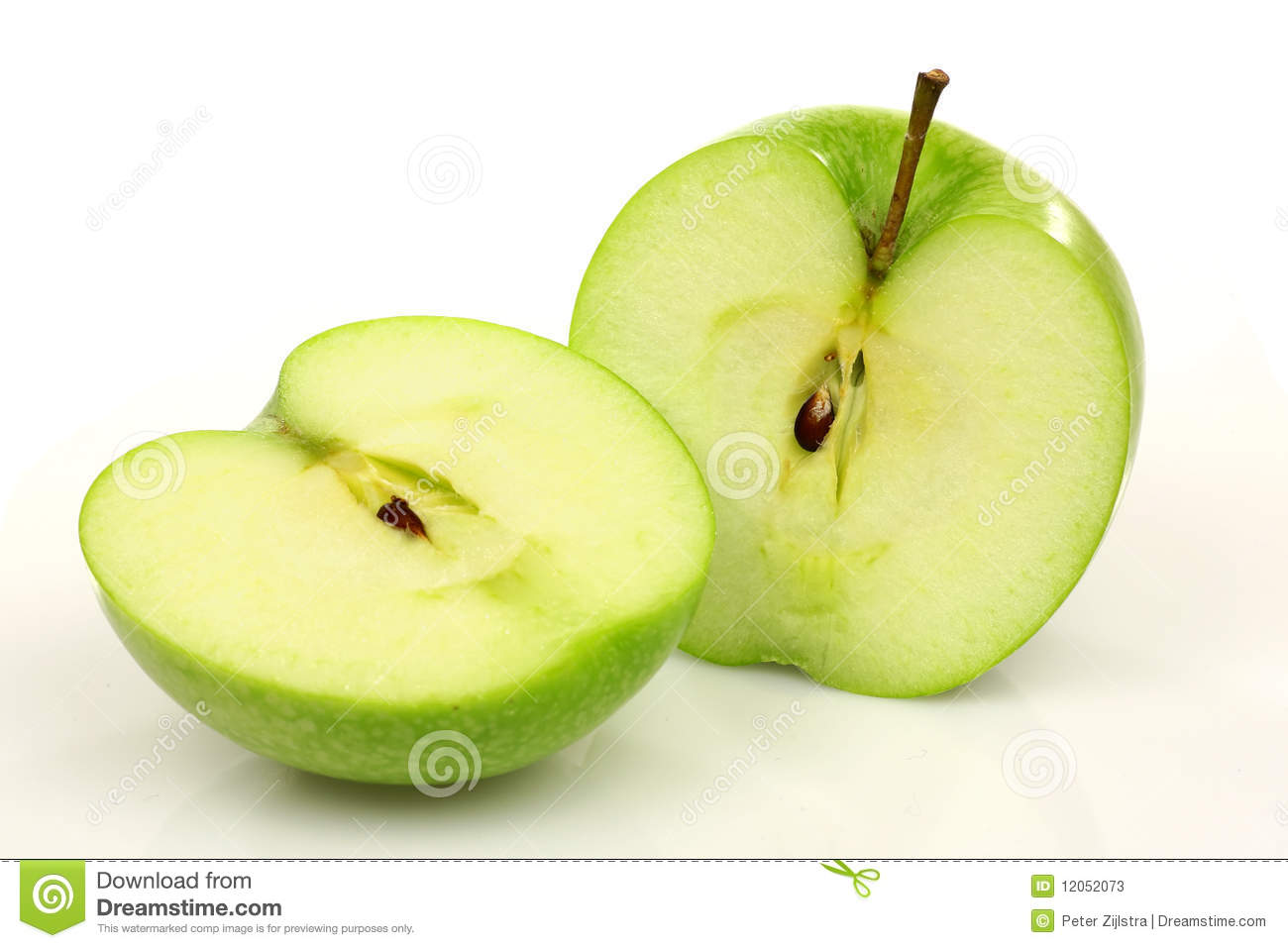 Two Green Apple Halves Stock Photos - Image: 12052073