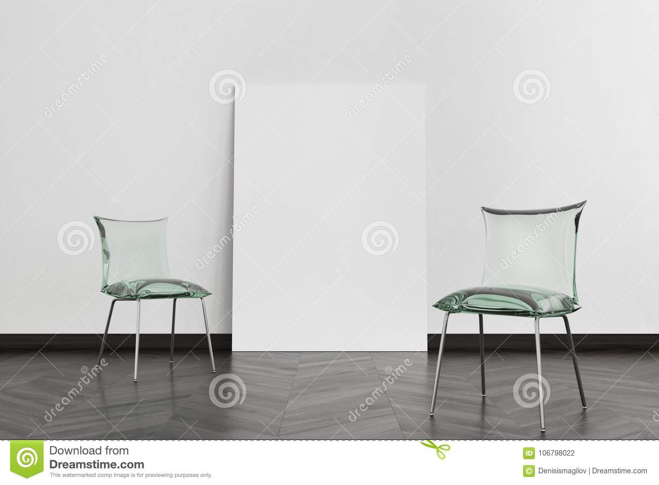 Two Green Glass Chairs, Poster Stock Illustration - Illustration