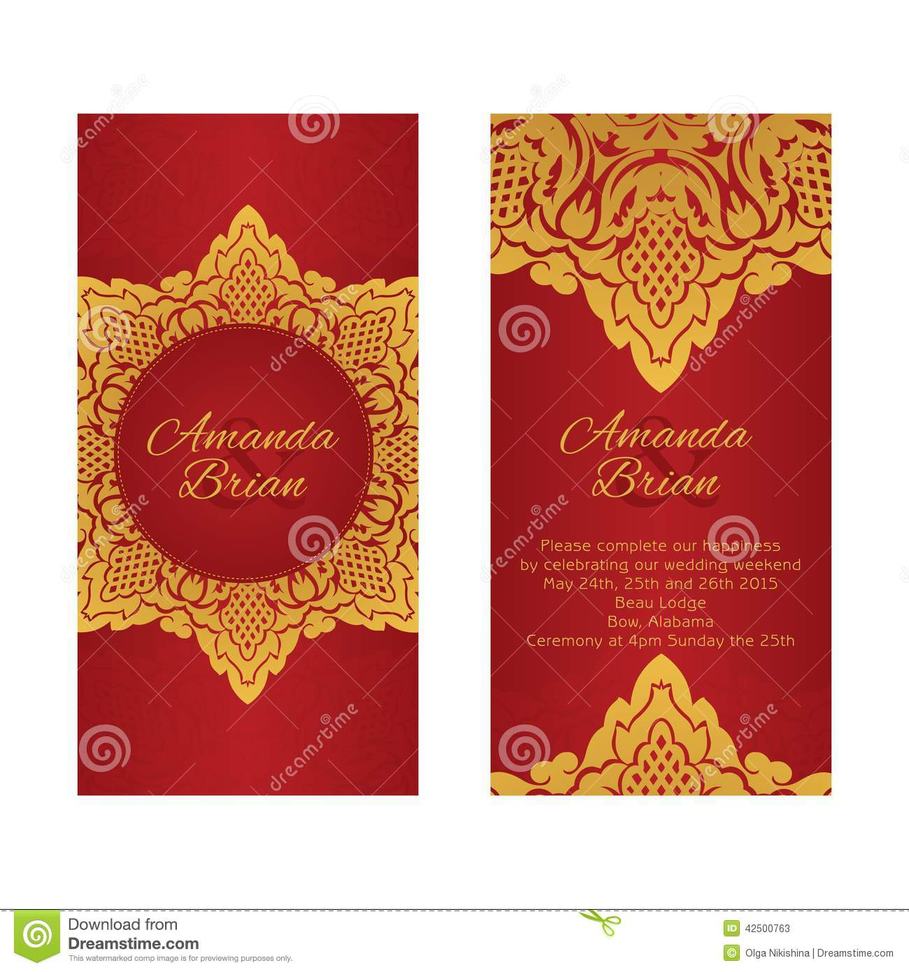 Two Greeting Cards In East Style On Red Background Stock Vector